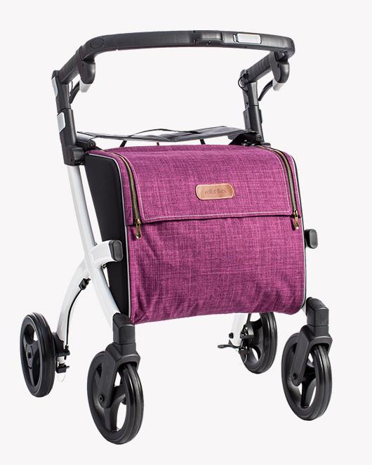 Rollz Flex Rollator mit weißem Rahmen und purpurroter Tasche