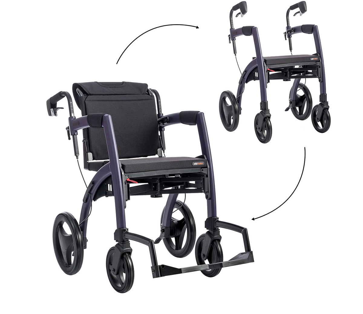 A Dark Purple Rollz Motion showed in rollator and wheelchair positions