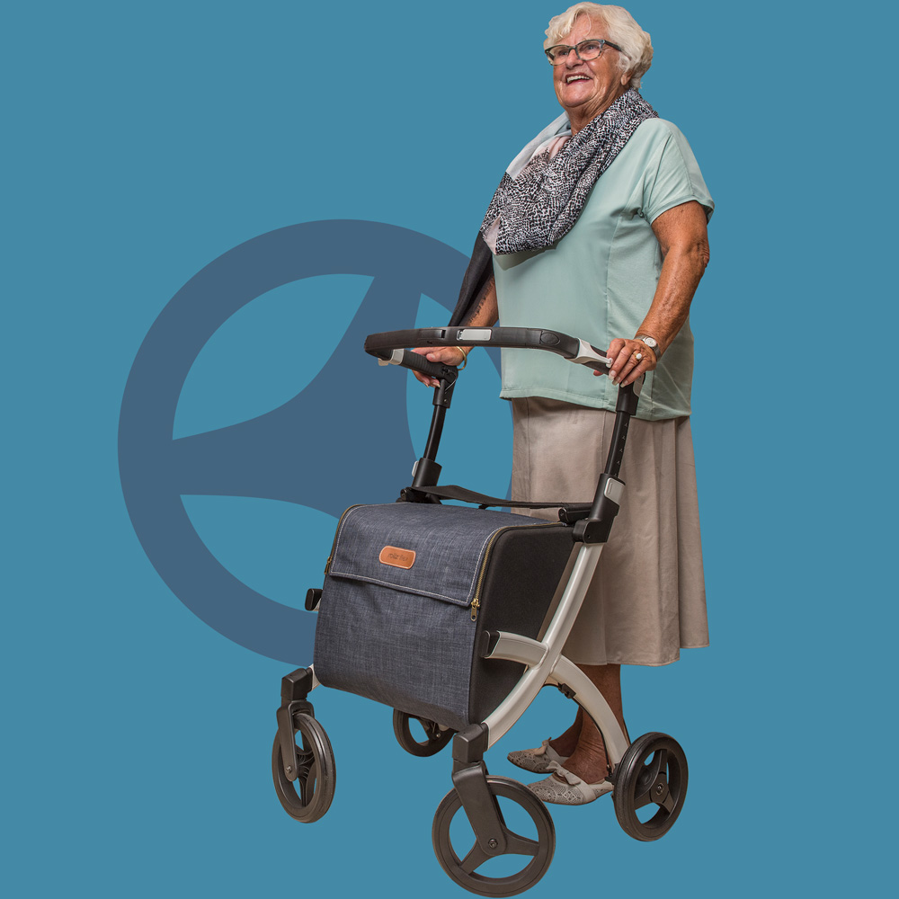 Woman supported by a Rollz Flex lightweight rollator